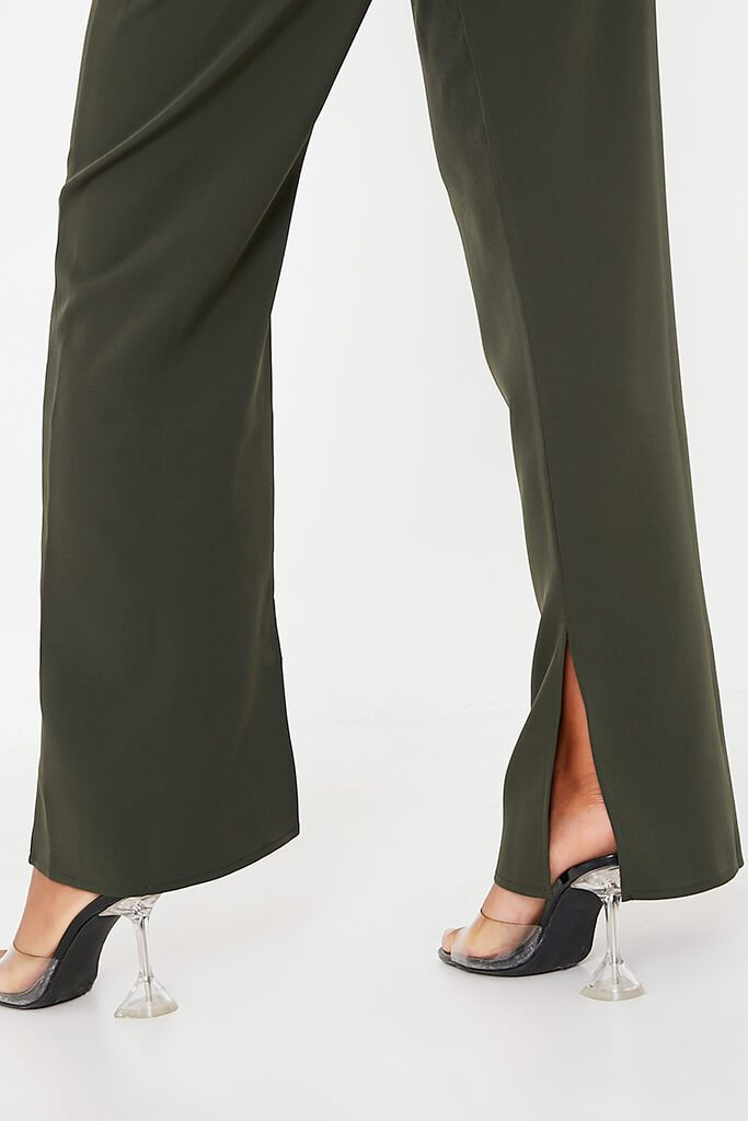 Khaki High Waisted Seam Split Wide Leg Trousers view 5