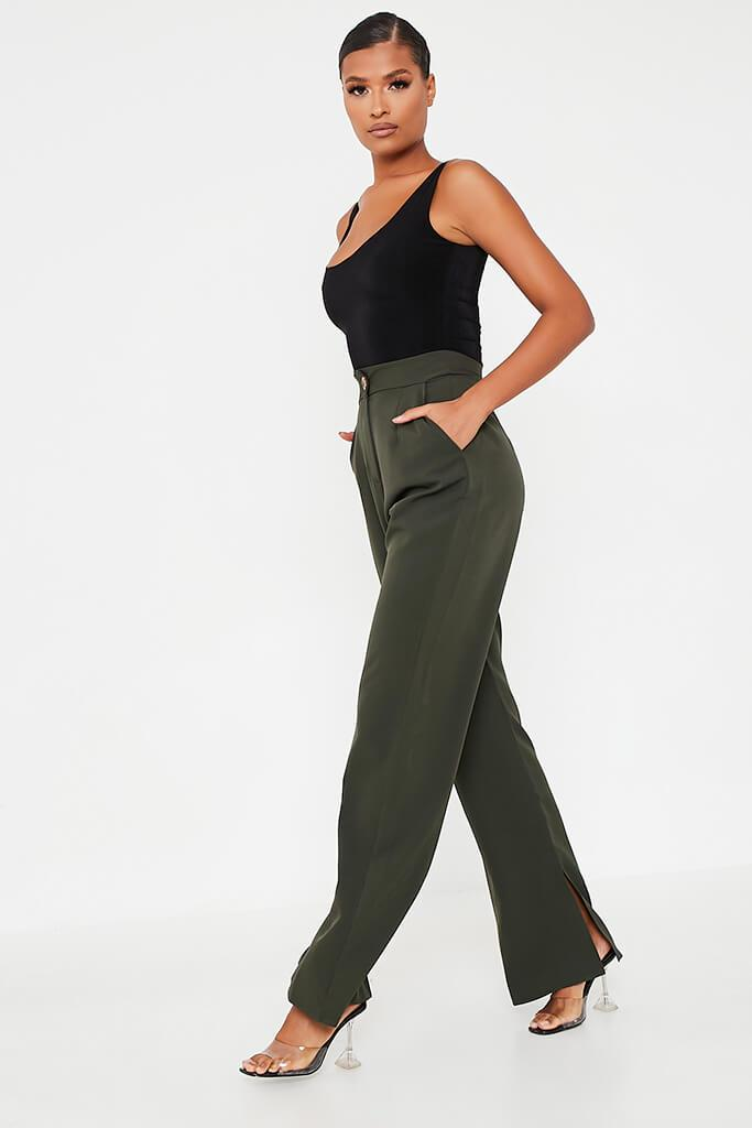 Khaki High Waisted Seam Split Wide Leg Trousers view 3
