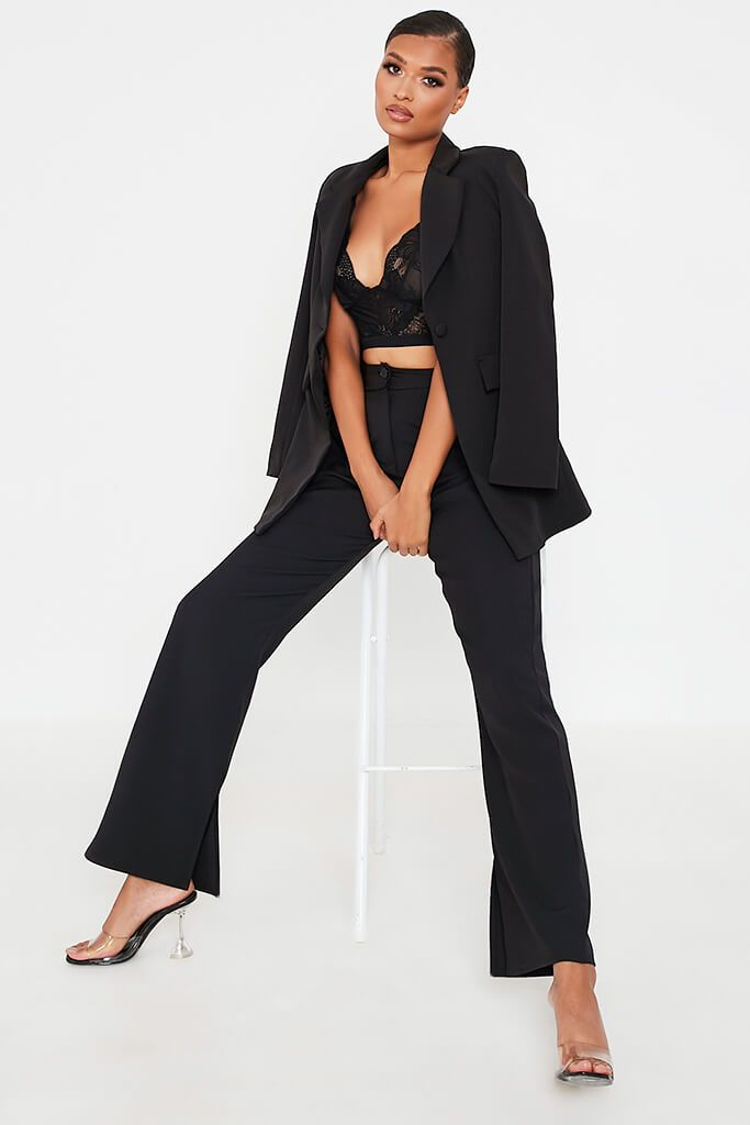 Black High Waisted Seam Split Wide Leg Trousers