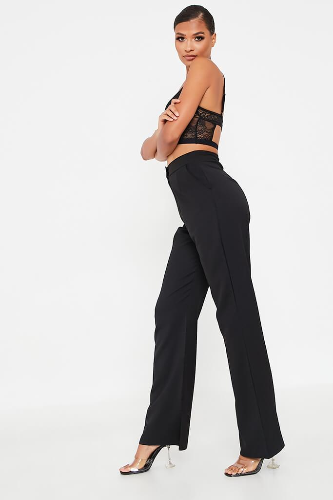 Black High Waisted Seam Split Wide Leg Trousers view 3