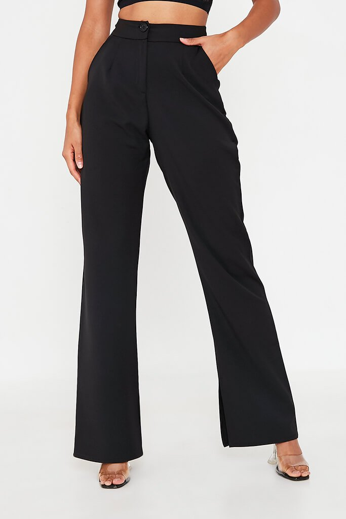 Black High Waisted Seam Split Wide Leg Trousers view 2