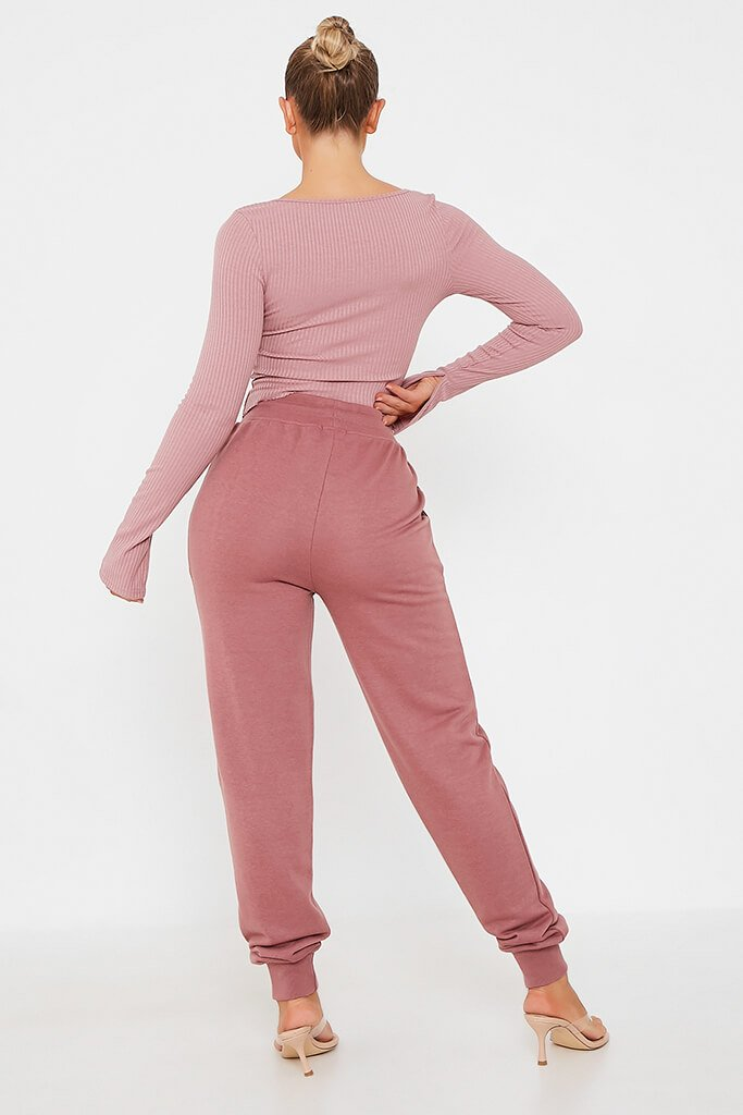 Rose Ribbed Zip Up Long Sleeve Top view 5