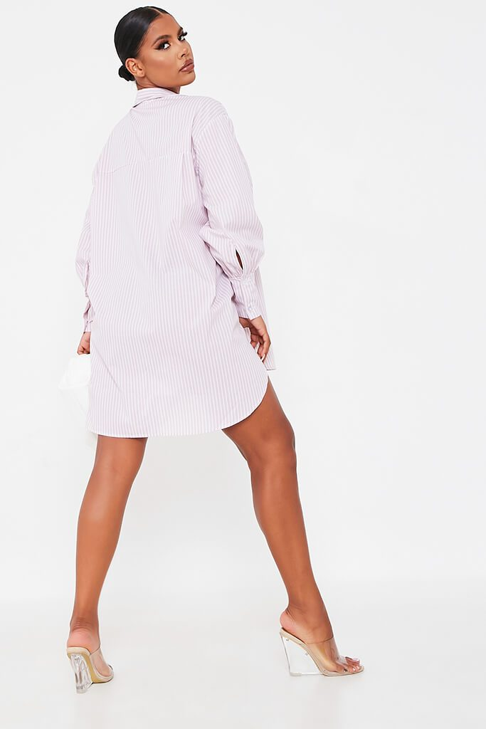 Pink Woven Striped Oversized Dip Hem Shirt Dress view 4