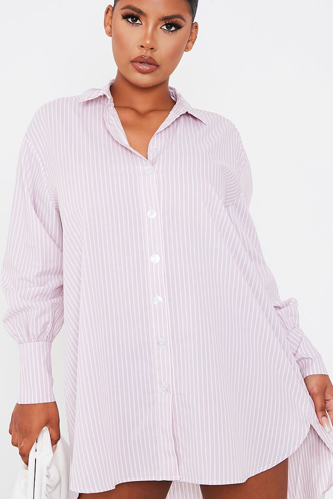 Pink Woven Striped Oversized Dip Hem Shirt Dress view 5