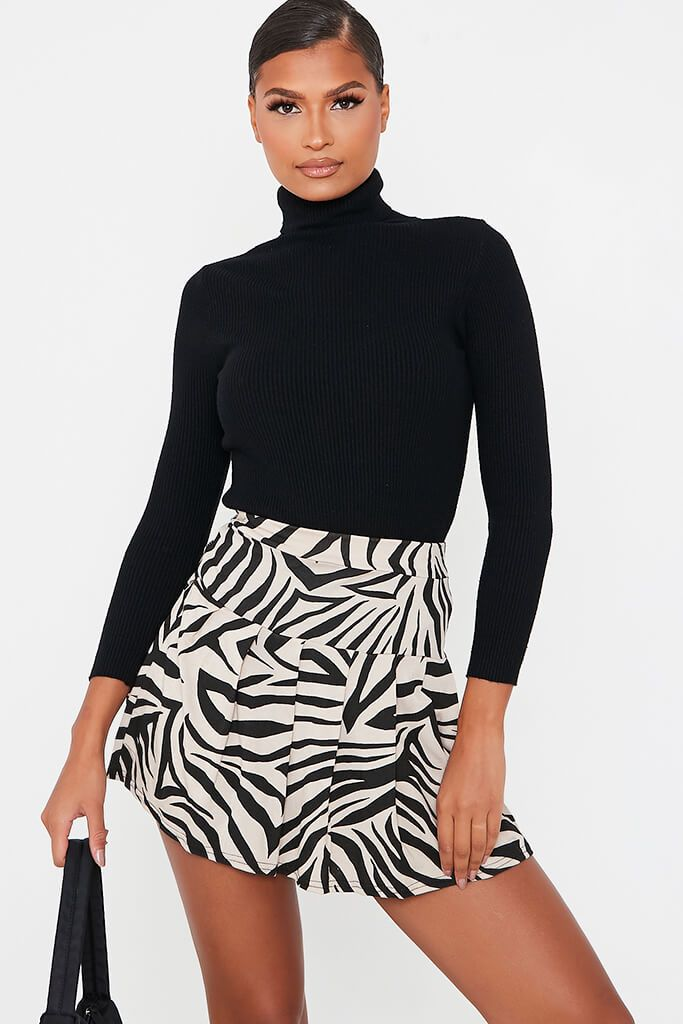Stone Zebra Skater Mini Skirt