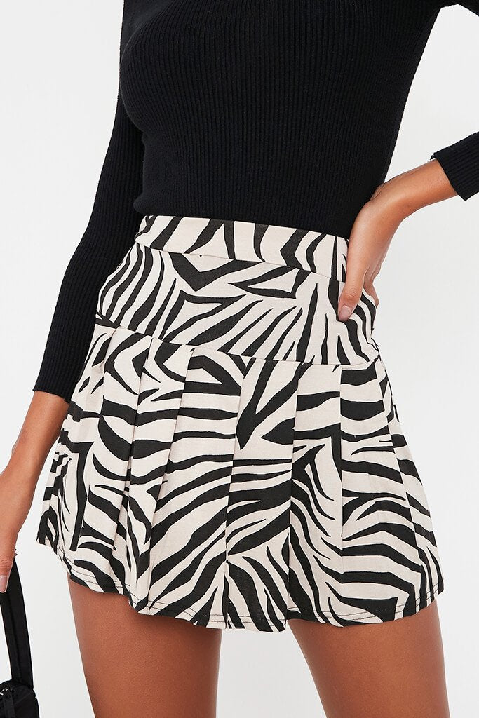 Stone Zebra Skater Mini Skirt view 5