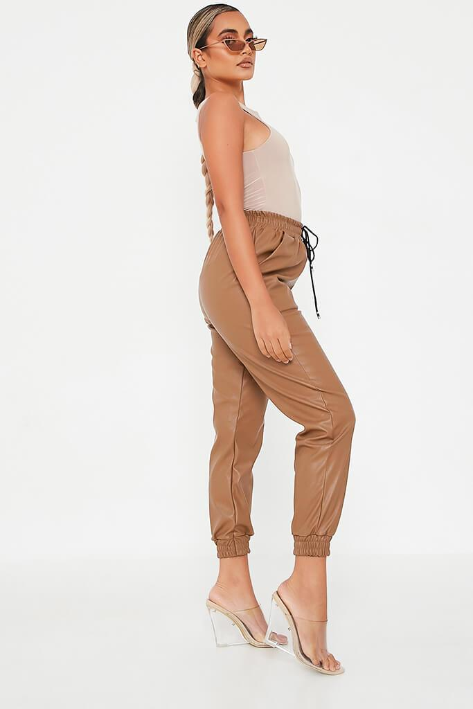 Camel Faux Leather Elasticated Joggers view 2