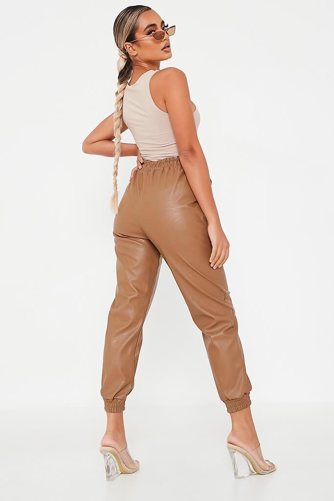 Camel Faux Leather Elasticated Joggers view 3