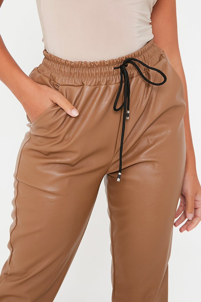 Camel Faux Leather Elasticated Joggers view 5
