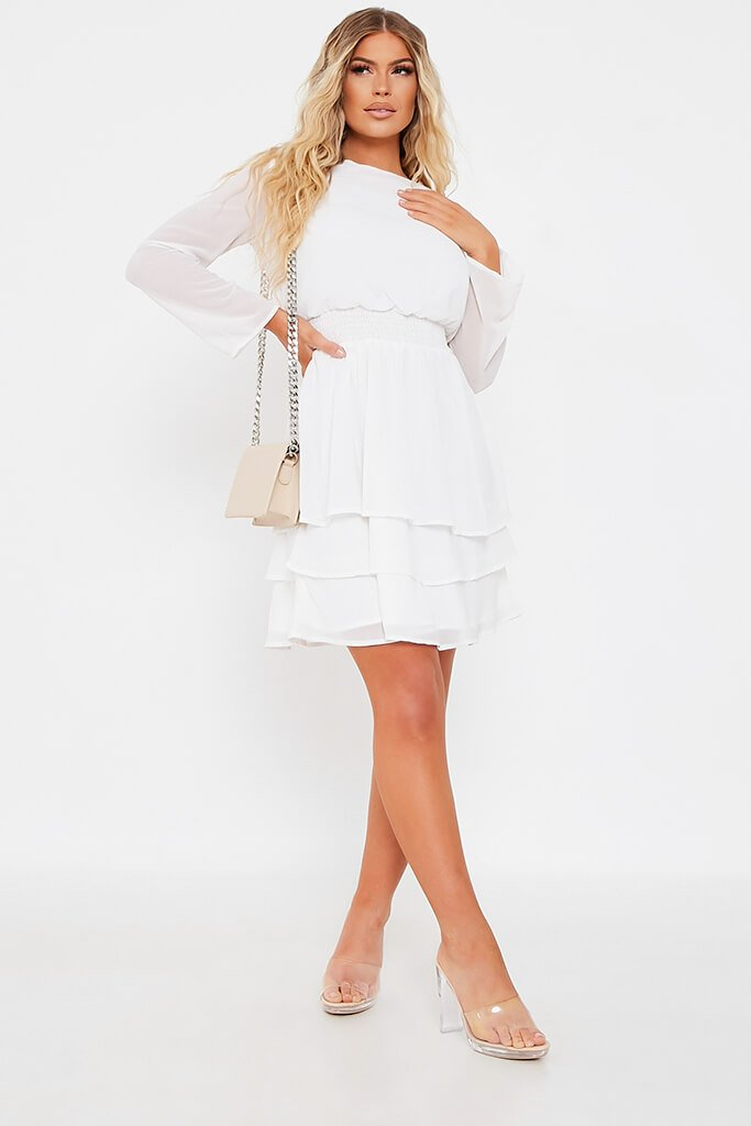 White Woven Long Sleeve Tiered Skater Dress view 2