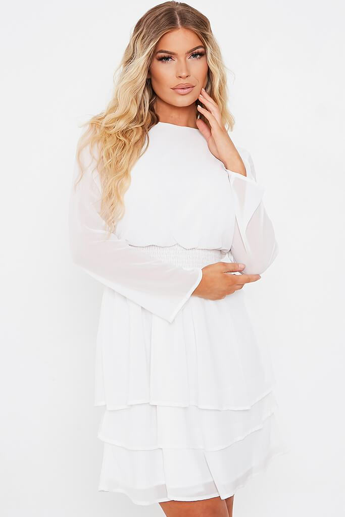 White Woven Long Sleeve Tiered Skater Dress