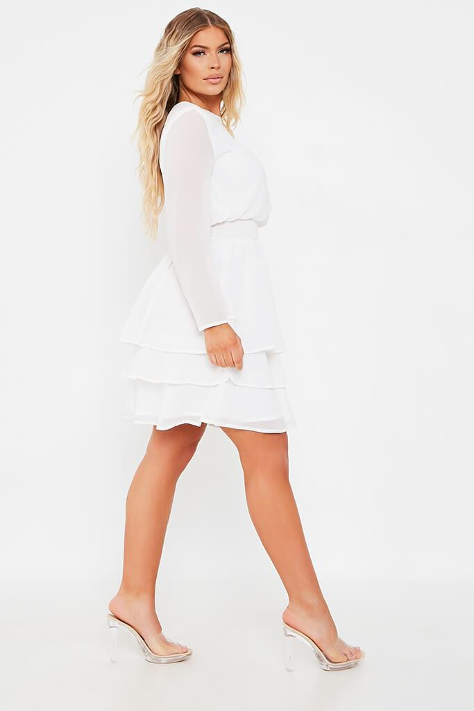 White Woven Long Sleeve Tiered Skater Dress view 3