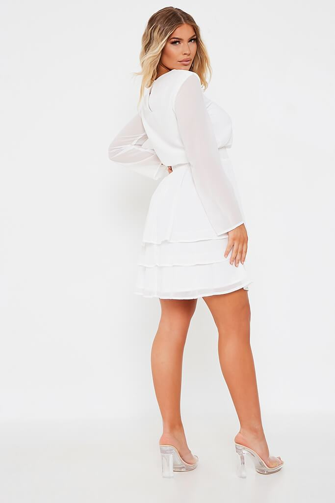 White Woven Long Sleeve Tiered Skater Dress view 5