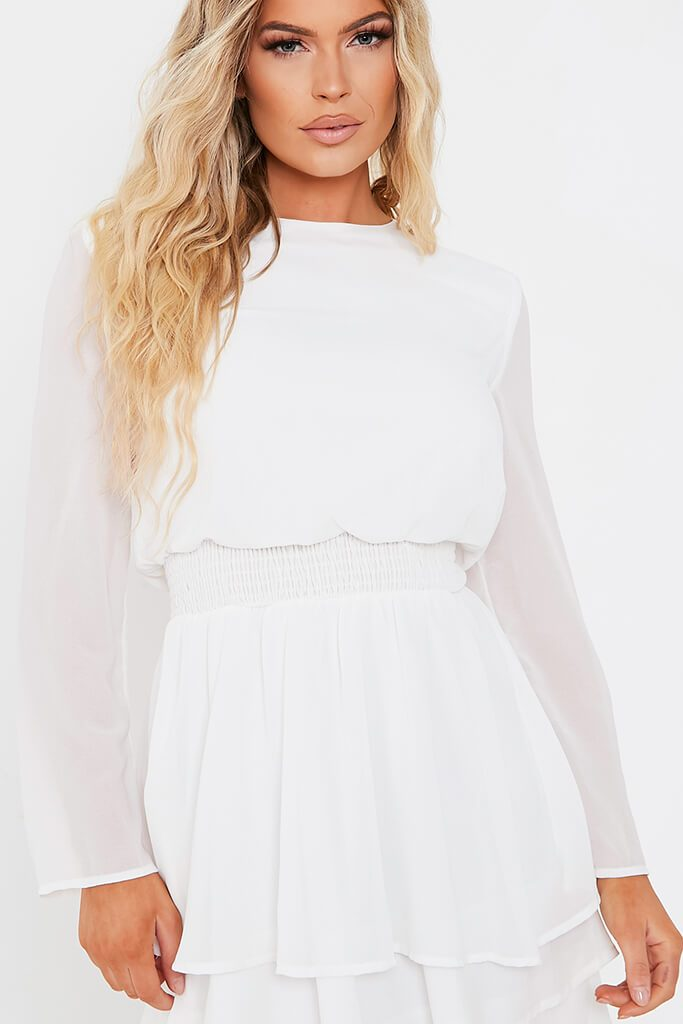 White Woven Long Sleeve Tiered Skater Dress view 4