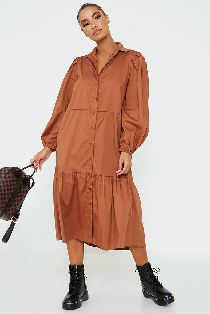 Toffee Cotton Collared Button Front Tiered Smock Midi Dress