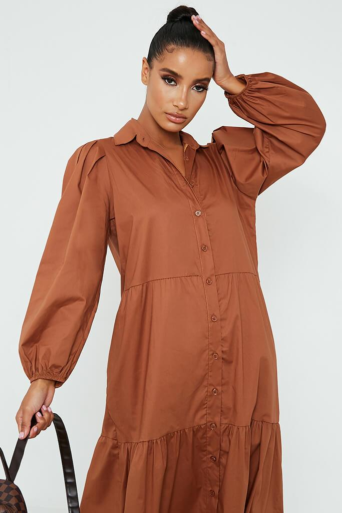 Toffee Cotton Collared Button Front Tiered Smock Midi Dress view 2