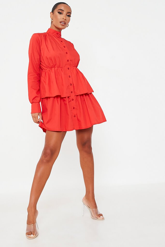 Red Cotton Poplin Long Sleeve Button Down Tiered Skater Dress view 2