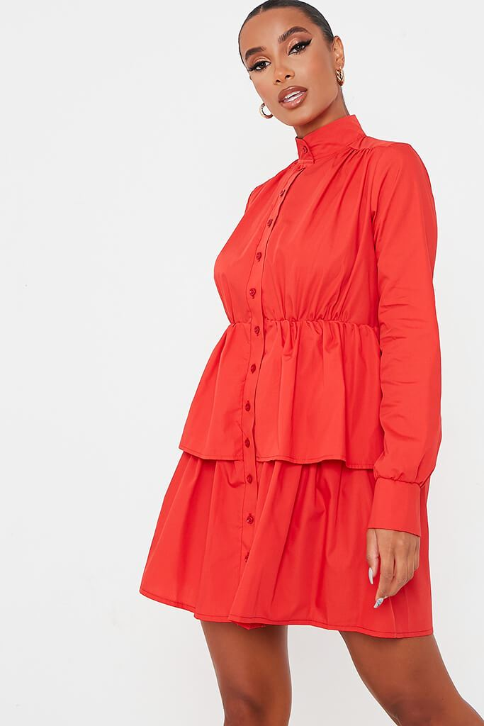 Red Cotton Poplin Long Sleeve Button Down Tiered Skater Dress