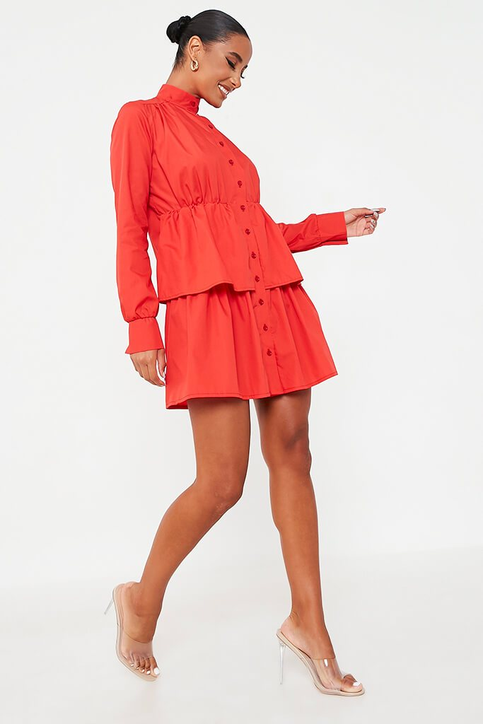 Red Cotton Poplin Long Sleeve Button Down Tiered Skater Dress view 3