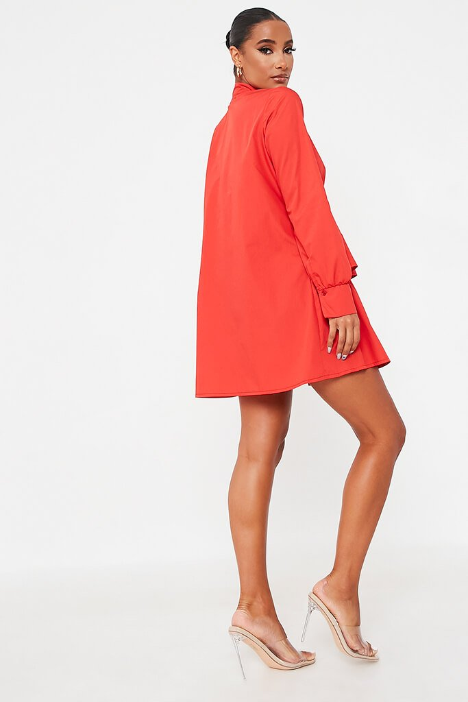 Red Cotton Poplin Long Sleeve Button Down Tiered Skater Dress view 4