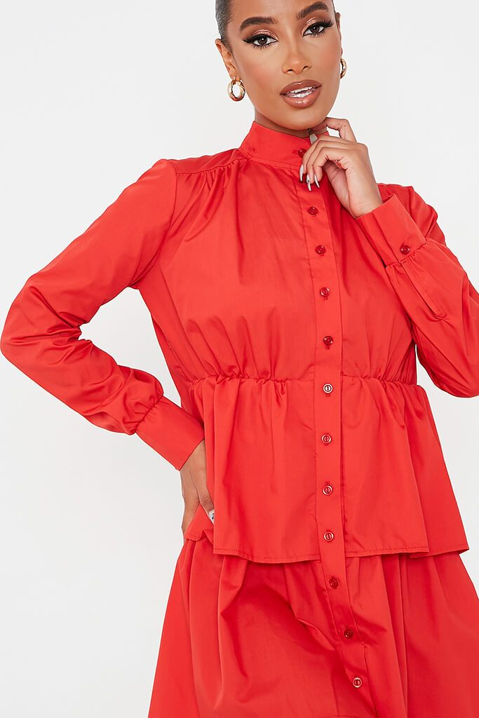 Red Cotton Poplin Long Sleeve Button Down Tiered Skater Dress view 5