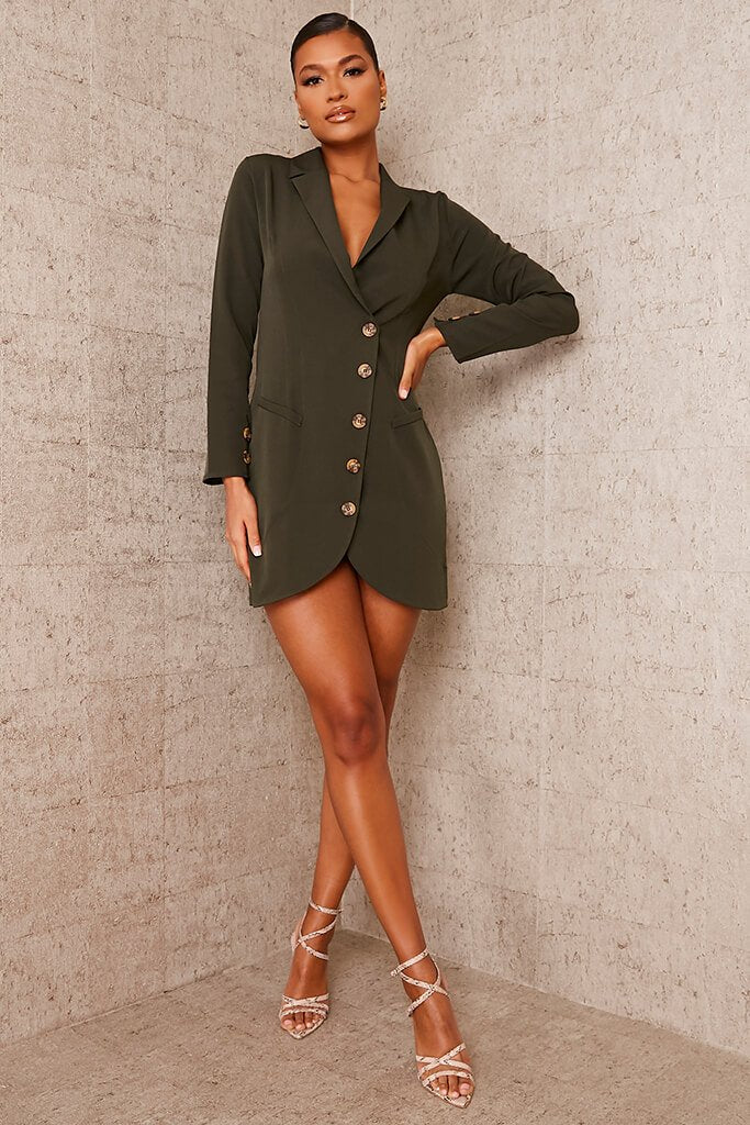 Khaki Woven Button Front Blazer Dress view 2