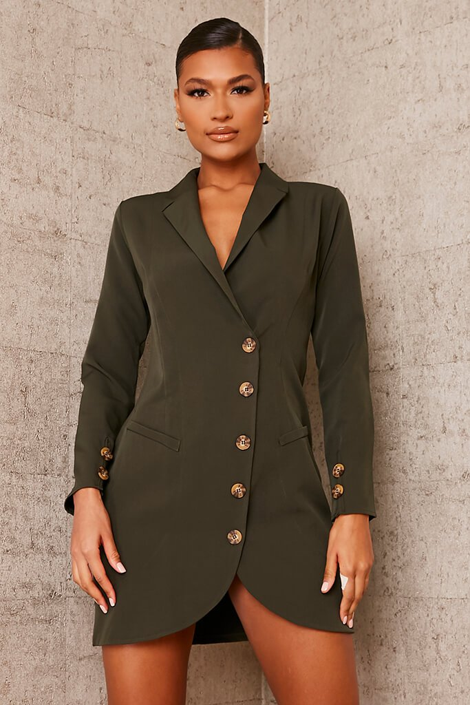 Khaki Woven Button Front Blazer Dress