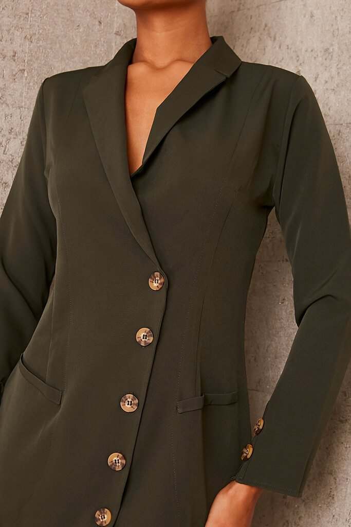 Khaki Woven Button Front Blazer Dress view 5