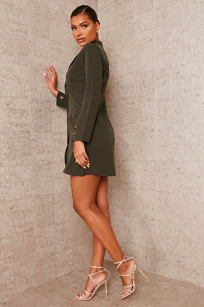 Khaki Woven Button Front Blazer Dress view 3