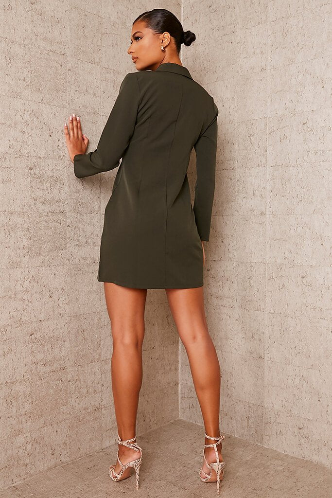 Khaki Woven Button Front Blazer Dress view 4