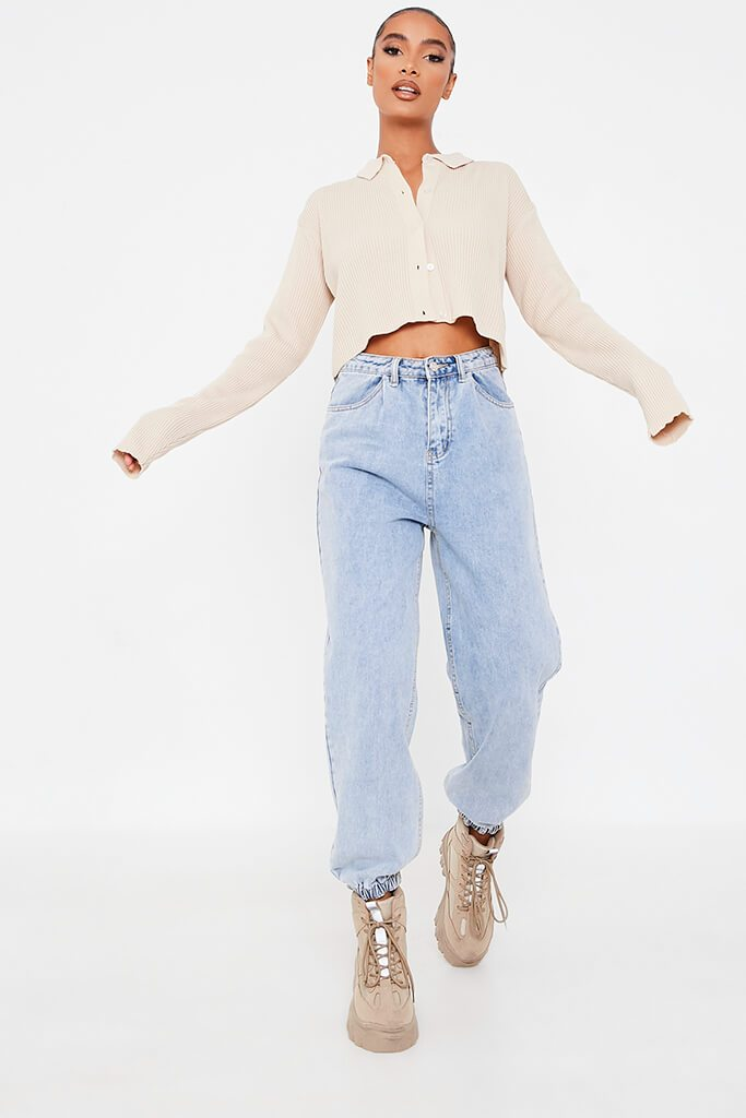Stone Collared Shirt Cropped Cardigan view 2