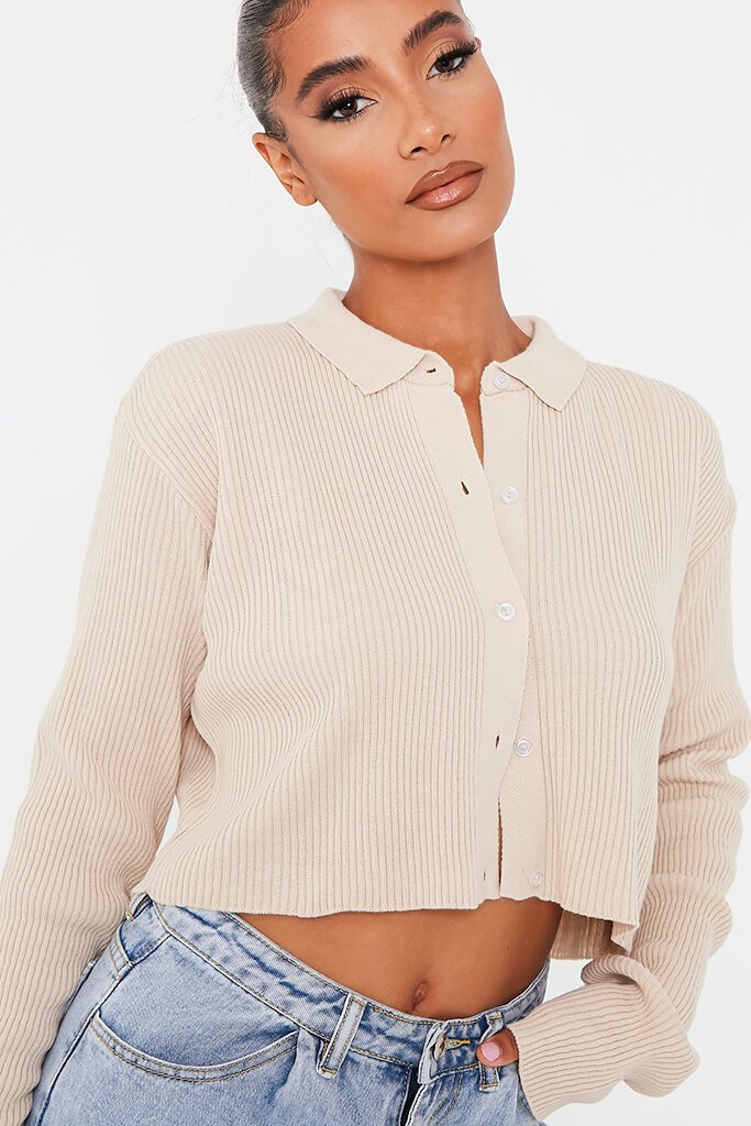 Stone Collared Shirt Cropped Cardigan view 4