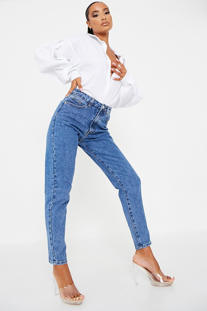 Mid Wash High Waisted Premium Mom Jeans