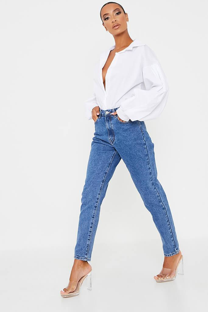 Mid Wash High Waisted Premium Mom Jeans view 3