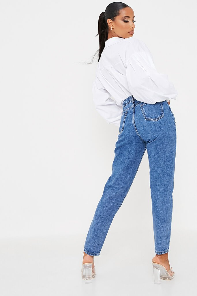 Mid Wash High Waisted Premium Mom Jeans view 4