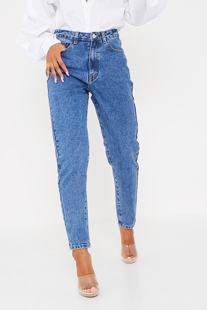 Mid Wash High Waisted Premium Mom Jeans view 2