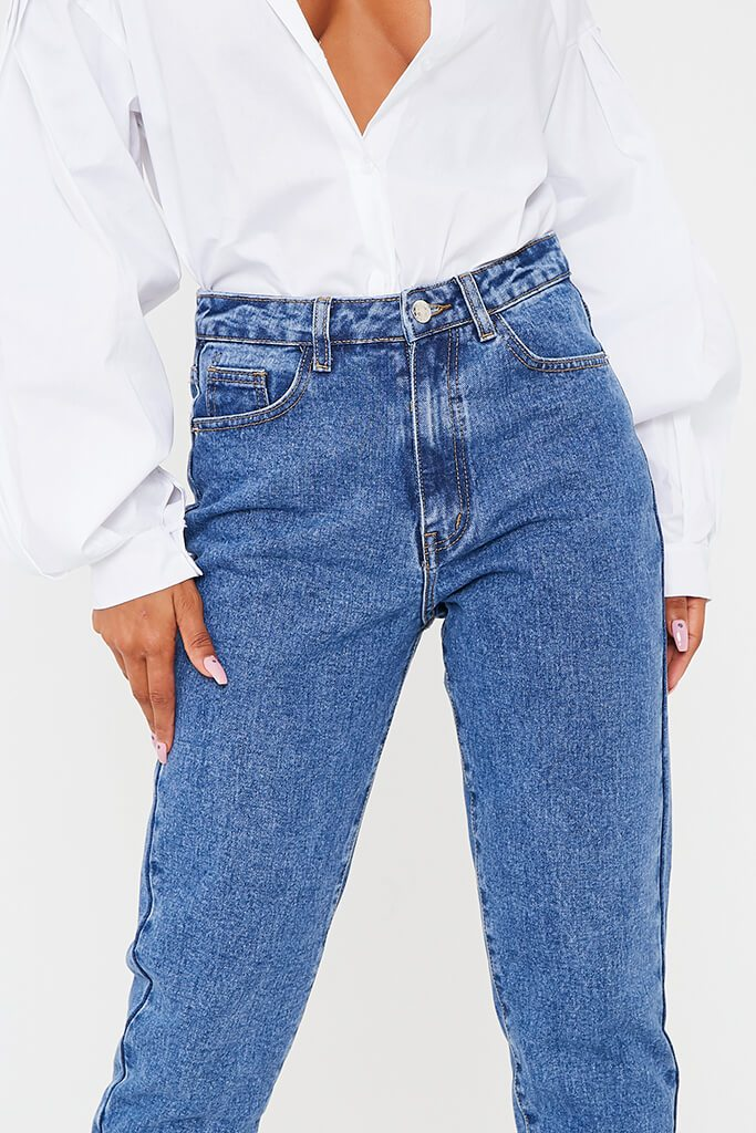 Mid Wash High Waisted Premium Mom Jeans view 5