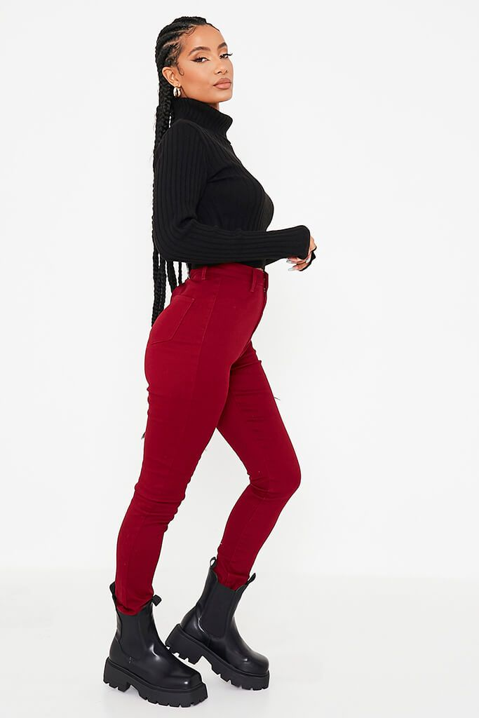 Burgundy Basic High Waisted Disco Skinny Jeans view 3