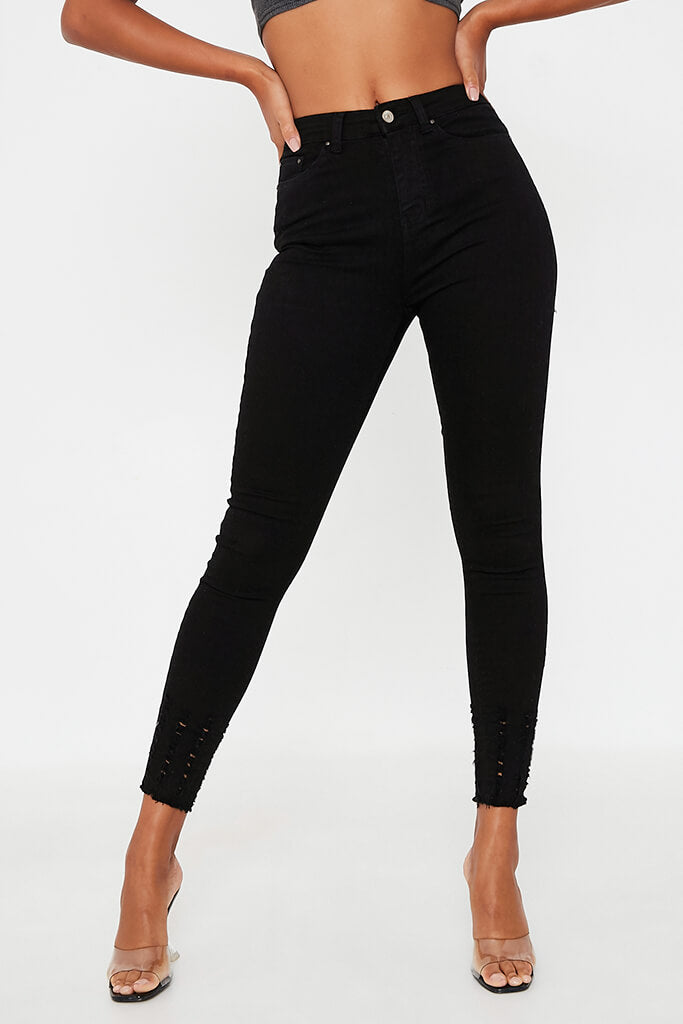 Black High Waisted Distressed Ankle Skinny Jeans view 2