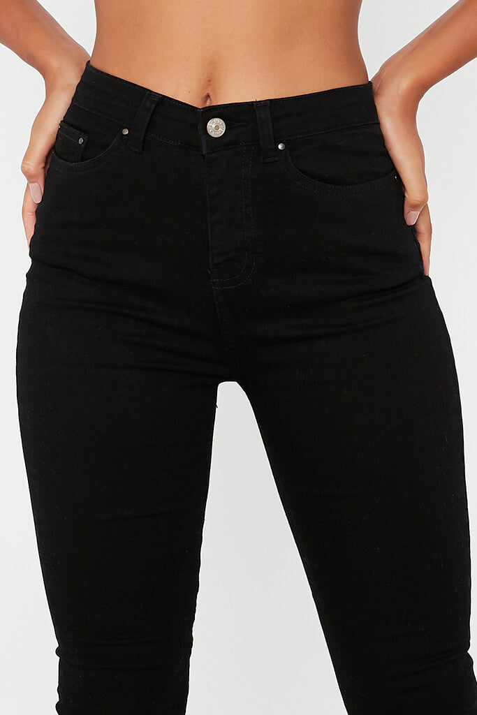 Black High Waisted Distressed Ankle Skinny Jeans view 5