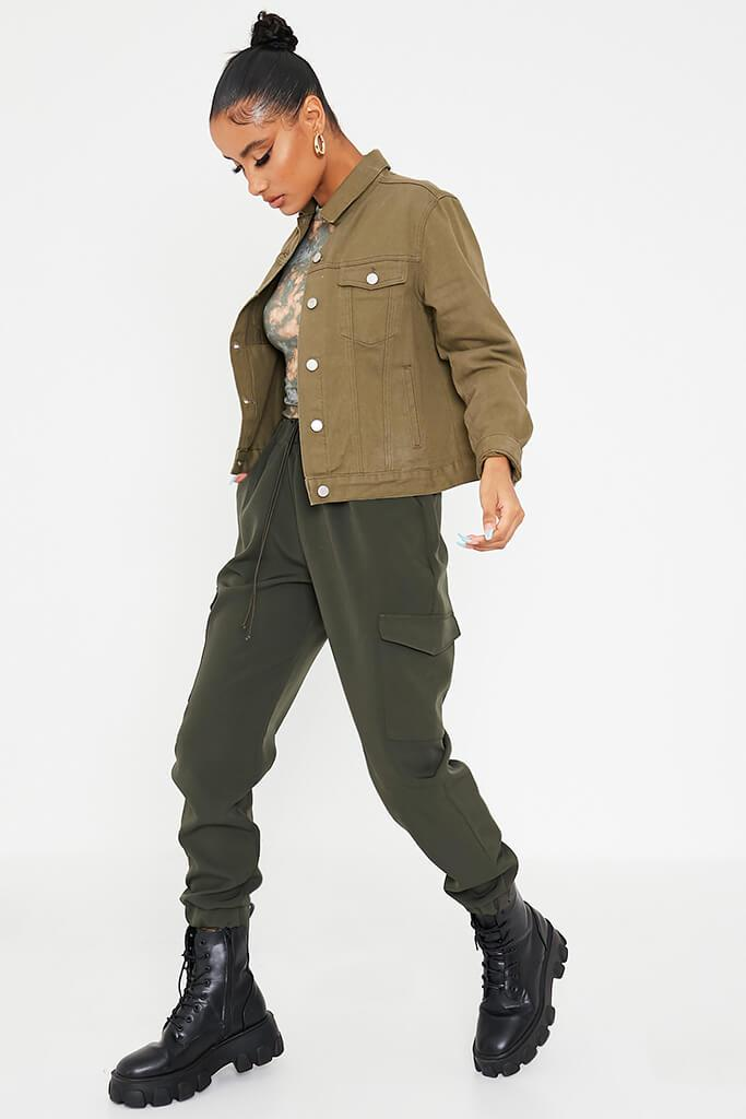 Khaki Oversized Denim Jacket view 3