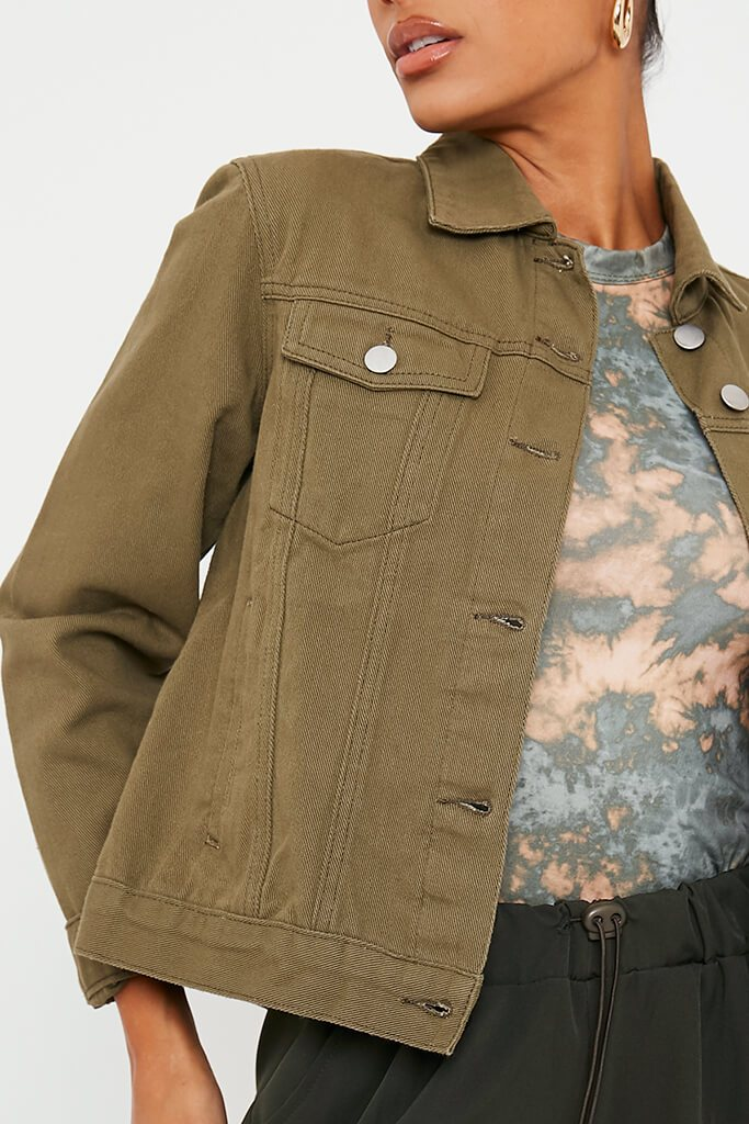 Khaki Oversized Denim Jacket view 5