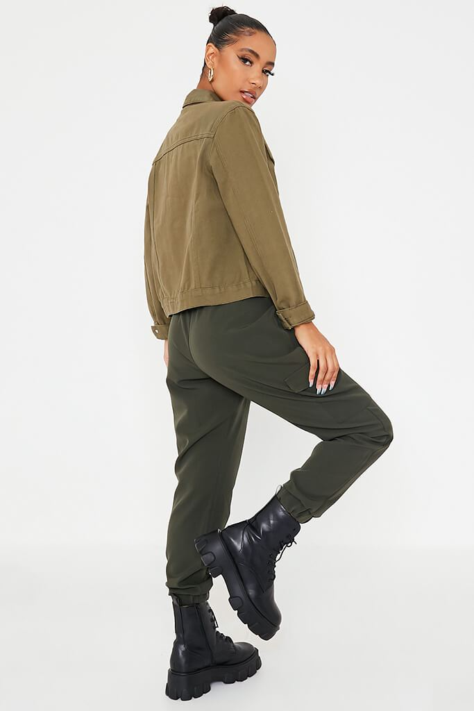 Khaki Oversized Denim Jacket view 4