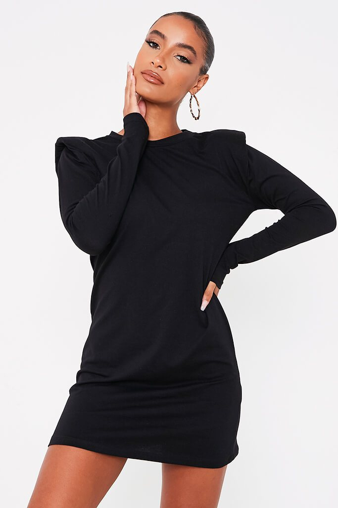 Black Jersey Long Sleeve Shoulder Pad Bodycon Dress