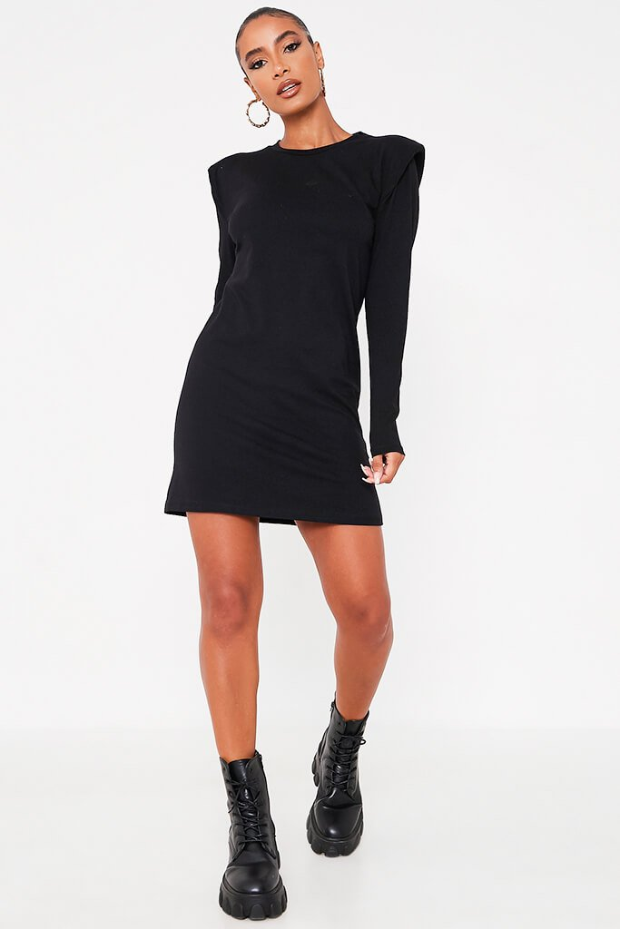 Black Jersey Long Sleeve Shoulder Pad Bodycon Dress view 2