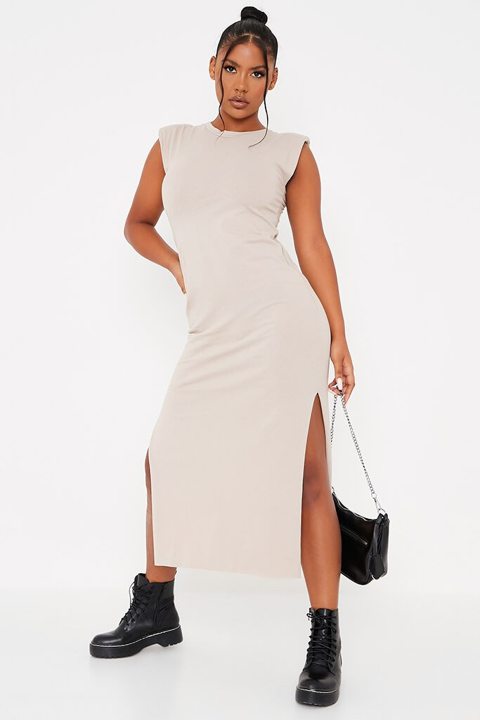 Stone Jersey Shoulder Pad Bodycon Midi Dress view main view