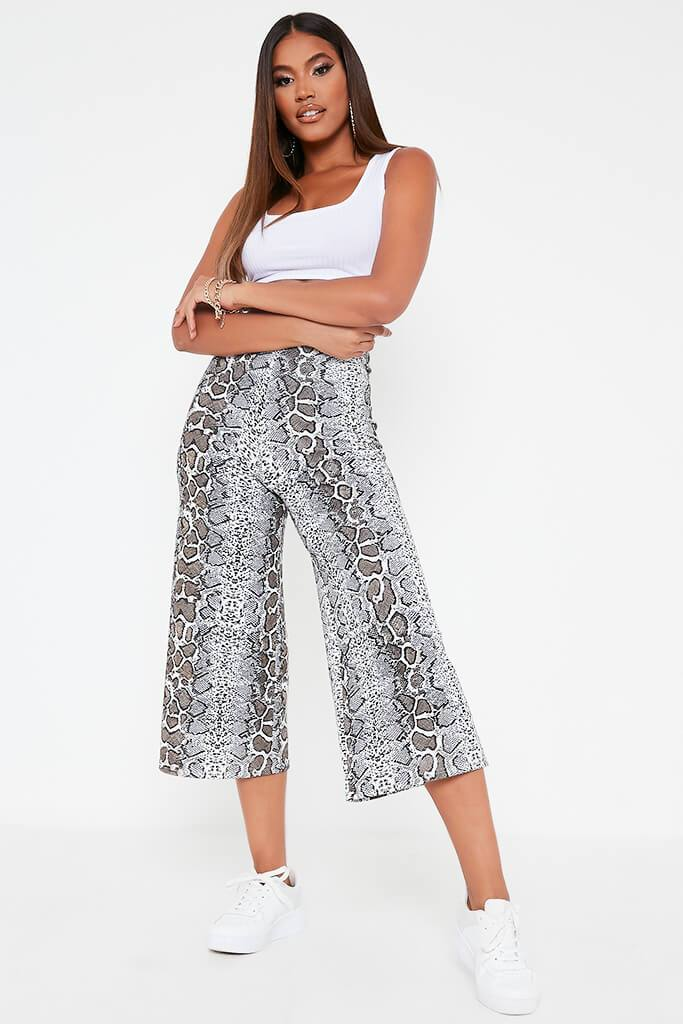 Brown Snake Print Culottes