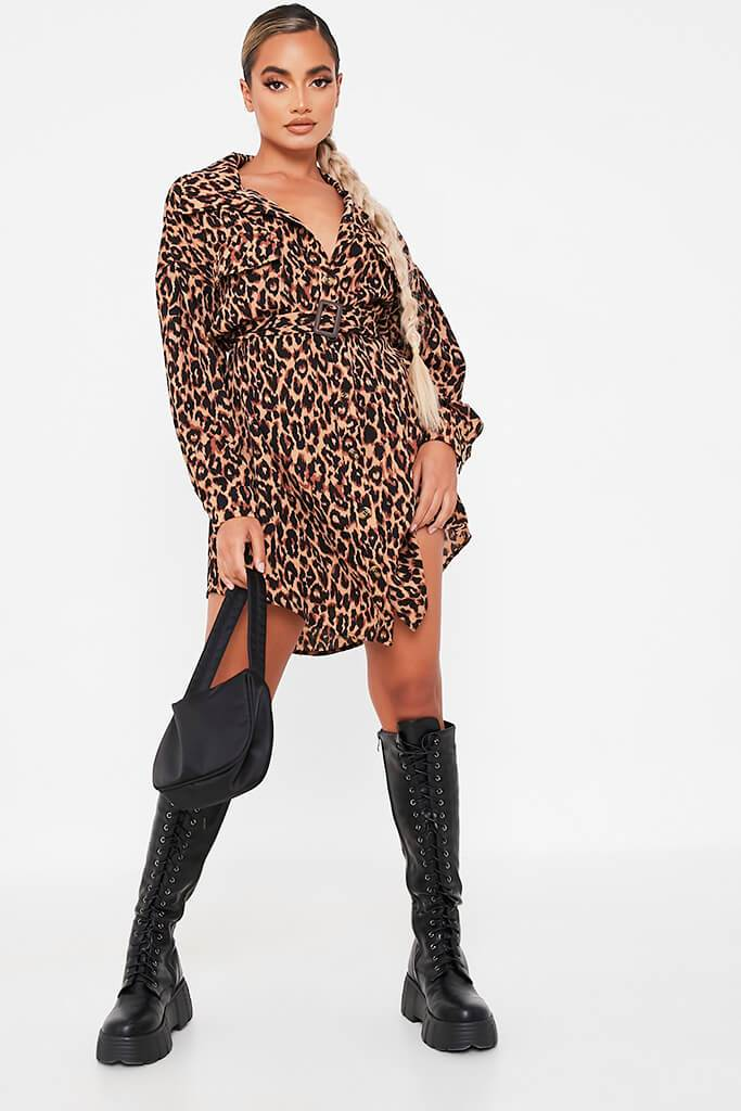 Brown Woven Leopard Print Drop Shoulder Belted Oversized Shirt Dress view 2