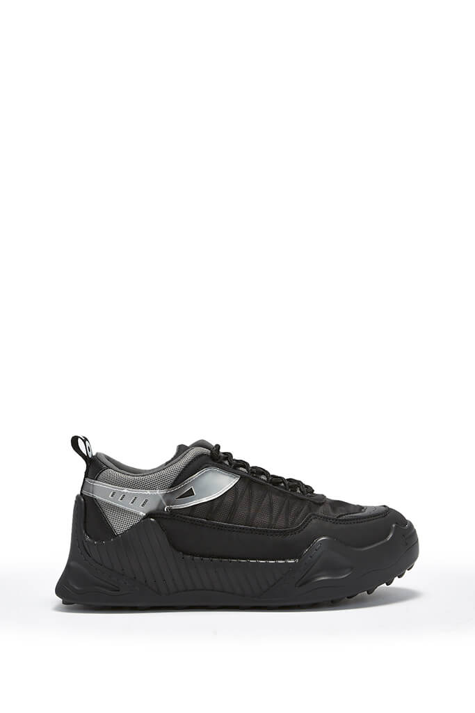 Black Rubber Sole Chunky Trainer