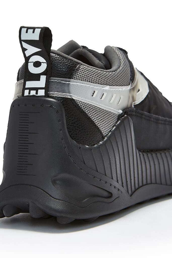 Black Rubber Sole Chunky Trainer view 2